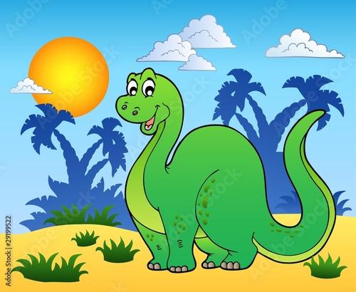 Tuinposter Dinosaurs Dinosaur in prehistoric landscape