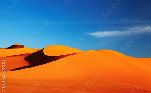Poster de jardin Desert de sable Sand dune in Sahara Desert at sunset