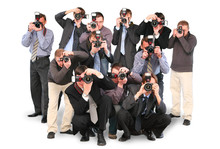Many Photographers Paparazzi Double Twelve Group With Cameras