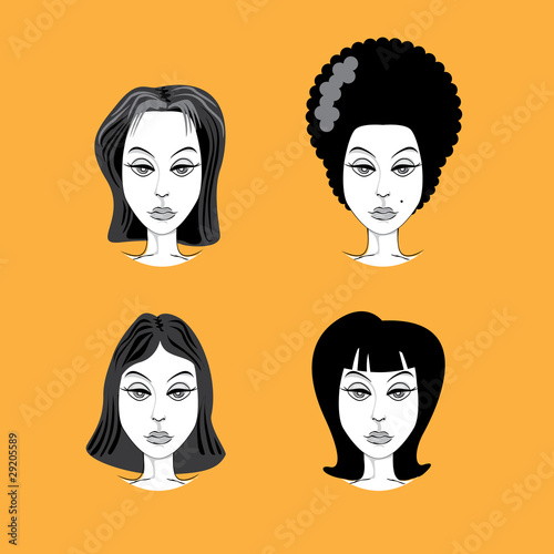 Woman Hairstyle Retro Look Illustration Buy This Stock