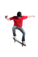 Young Active Skateboarder Jump...