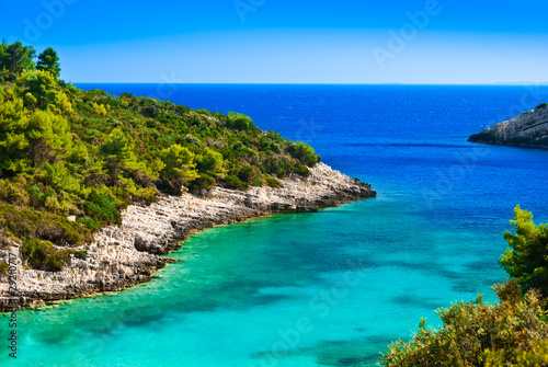 Fotografie, Tablou Blue lagoon, island paradise. Adriatic Sea of Croatia, Korcula