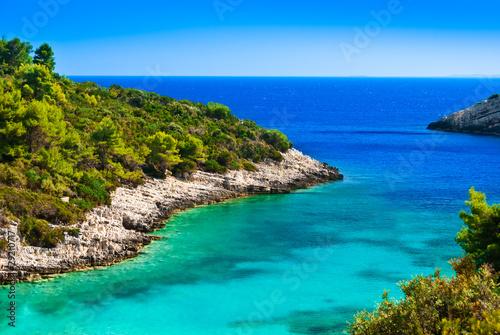 Fényképezés Blue lagoon, island paradise. Adriatic Sea of Croatia, Korcula