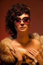 Gorgeous Woman In Fur And Glas...