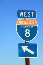 American Interstate I-8 West Sign In Caiifornia