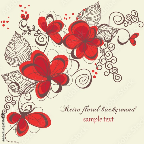 Tuinposter Abstract bloemen Retro floral background