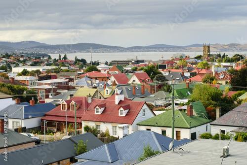 Printed kitchen splashbacks Australia Suburban rooftops, Hobart, Tasmania