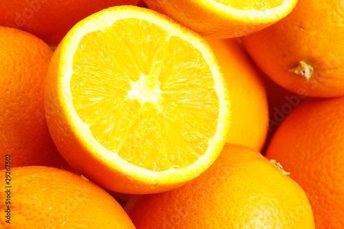 Spoed Foto op Canvas Plakjes fruit heap of oranges