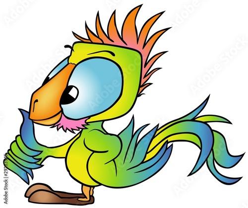 Aluminium Prints Pirates Multicolored Parrot - colored cartoon illustration