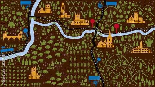 Poster de jardin Route aerial view of a region with peoples castles rivers and trees
