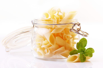 Pasta with basil leaf