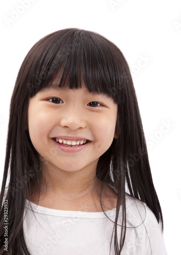 Photo  Close-up portrait of Asian little girl on white background .
