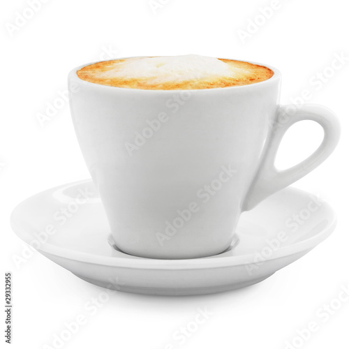 Obraz na plátne cappuccino coffee in a white cup + Clipping Path