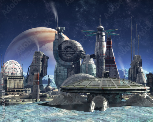 Naklejka premium kolonia księżyca Jowisza