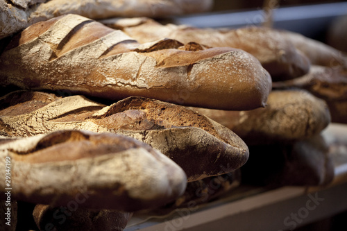 pains baguettes paysannes à la boulangerie Canvas Print