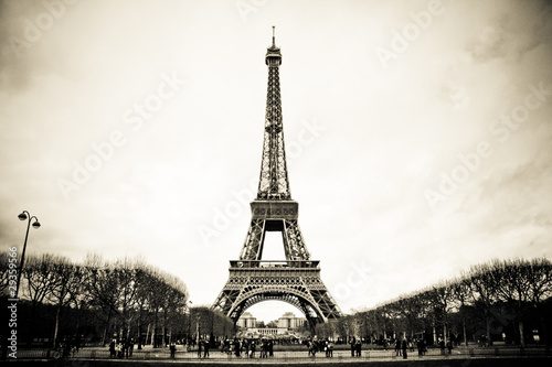 old picture with Eiffel Tower