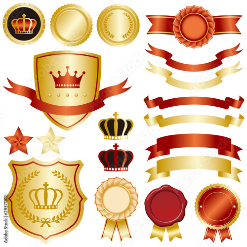 Photo gold and red emblem set