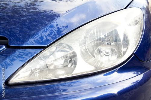 Photo  Blue car front light