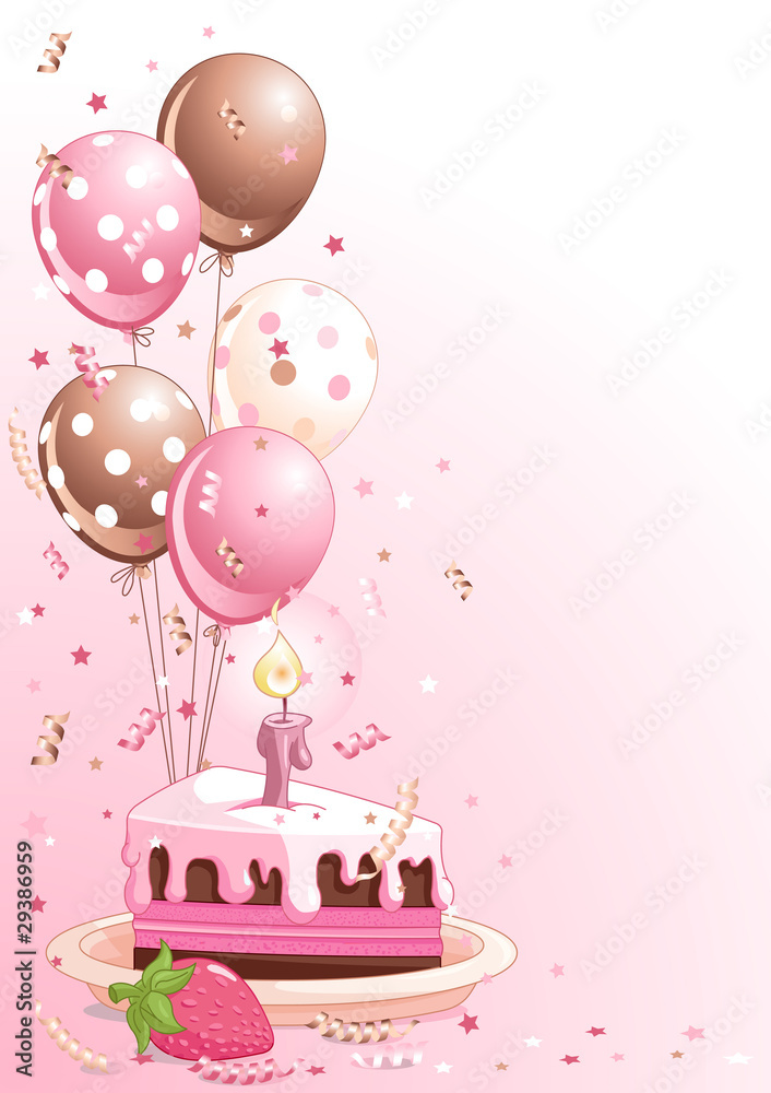 Slice Of Birthday Cake With Balloons Foto Poster Wandbilder Bei EuroPosters