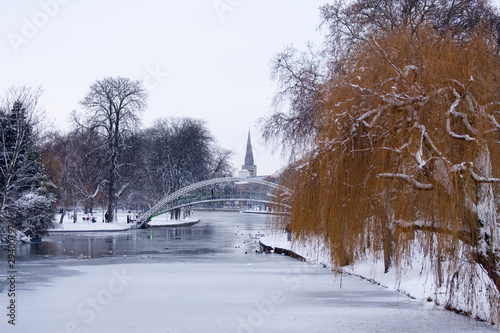 Frozen great river ouse Bedford Canvas Print