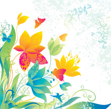 Beautiful Flower Background With Butterfly And  Hummingbird