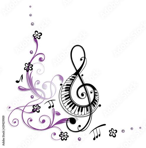 noten, notenschlüssel, musiknoten, musik, ranke, blumen
