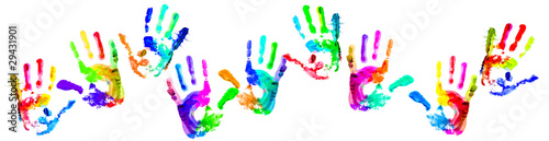 Valokuva  Multi coloured handprints