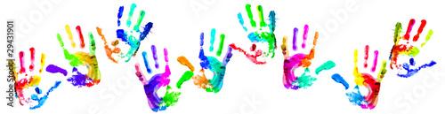 Fotografia, Obraz  Multi coloured handprints