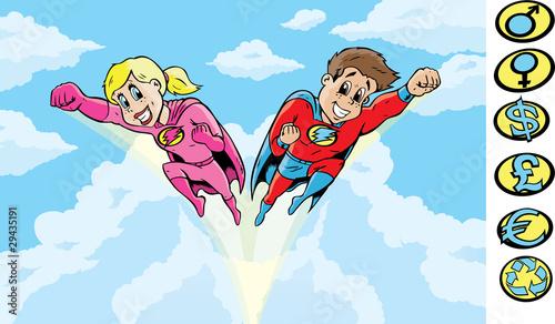 Autocollant pour porte Super heros SuperHero kids