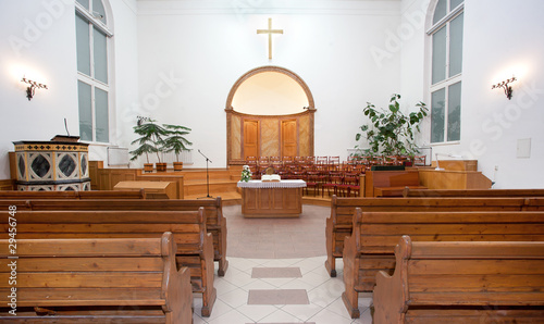 Canvas Print Interior of a small baptist church