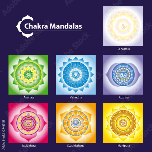 Fotografie, Obraz  Vector Chakra Symbol Mandalas for Meditation  to Facilitate Grow