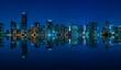 Miami skyline night panorama with beautiful reflections
