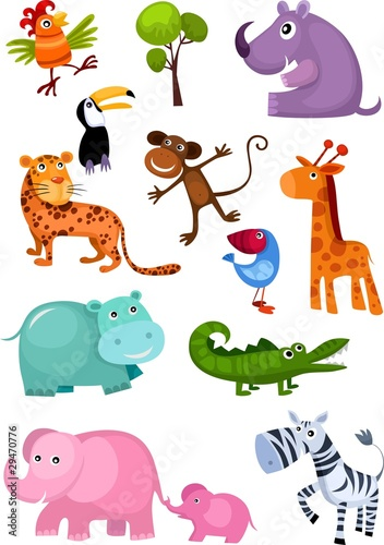 Poster de jardin Zoo animal set