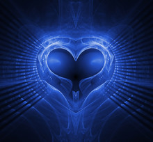 Abstract Heart Background. Blue Palette.