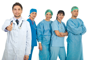 Successful doctor and his team