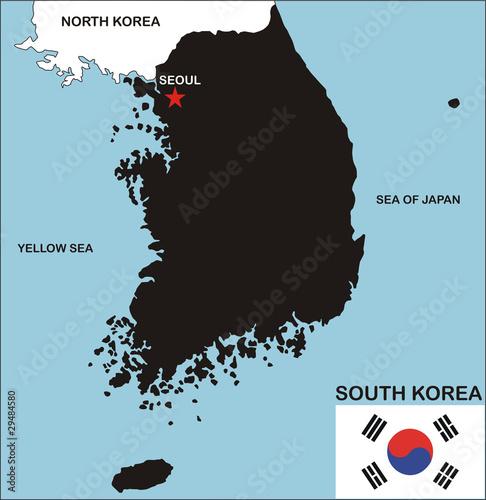 south korea map Canvas Print