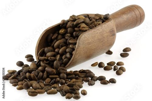 Wall Murals Coffee beans grains de café torréfié dans une cuiller-pelle en bois