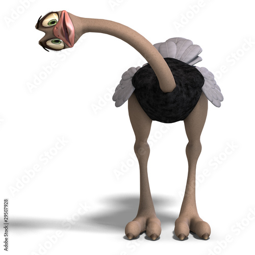 cute toon ostrich gives so much fun. 3D rendering with clipping
