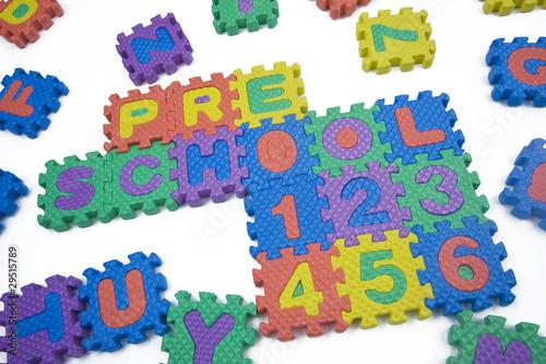Staande foto Hoogte schaal Preschool and Numbers