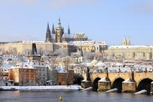 Romantic Snowy Prague Gothic Castle With The Charles Bridge