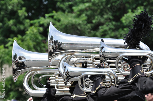 Playing Marching Tubas and Baritones in Parade Canvas Print