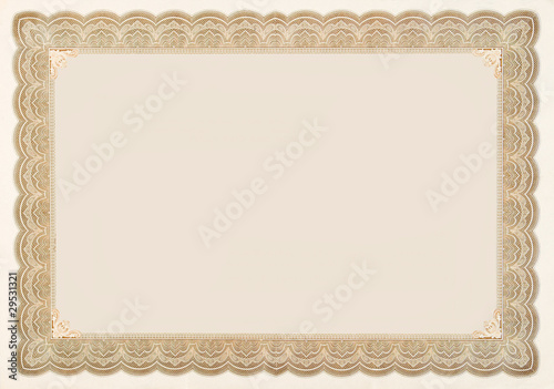 Photo  Old Vintage Stock Certificate Empty Border