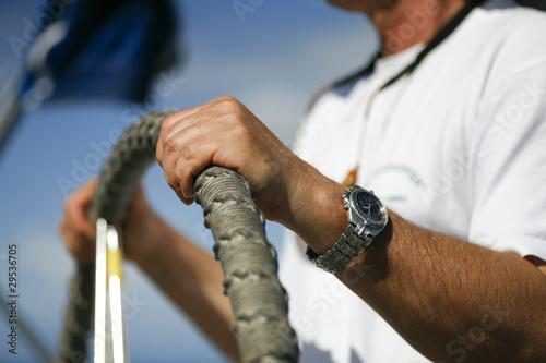 Fotografía  Am Steuer einer Segelyacht