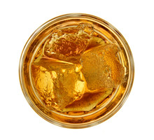 Top View Of Glass Of Whiskey