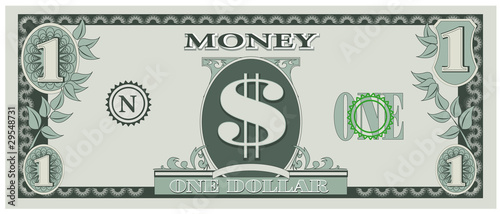 Fotografia, Obraz  Vector illustration of game money - one dollar bill