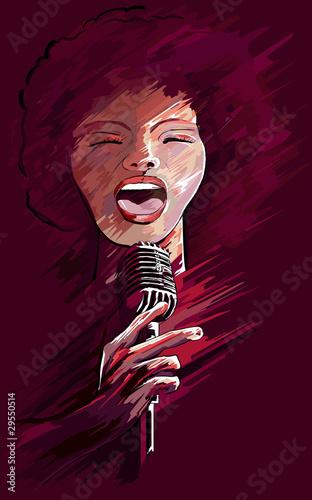 Fotobehang Vrouw gezicht jazz singer