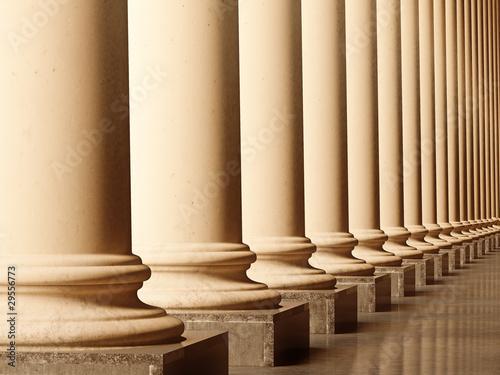 Fotografie, Obraz  Old columns in sepia. 3D realistic illustration
