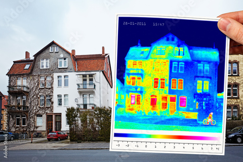 Fotografie, Obraz  thermal imaging of a half isolated apartment building