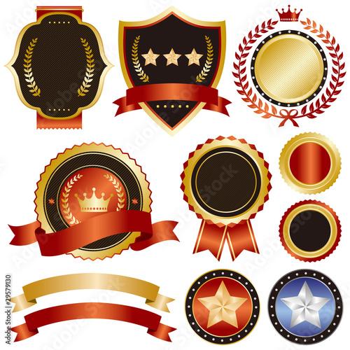Foto  gold and red emblem set 2