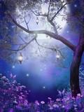 Fototapeta Kwiaty - Zaczarowana łąka z fioletowymi kwiatami